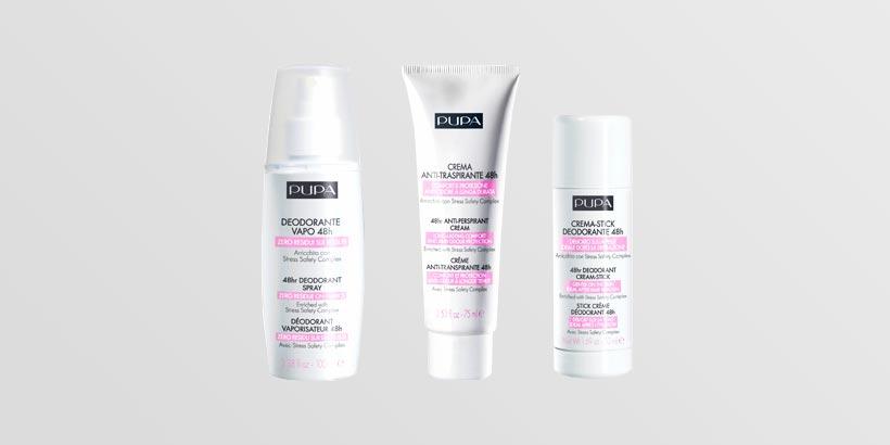 3 tipi diversi di deodoranti della pupa